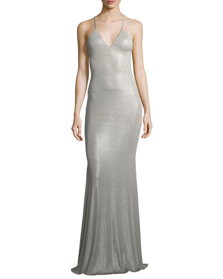 Lurelly Deep V Sleeveless Shimmer Maxi Slip Dress