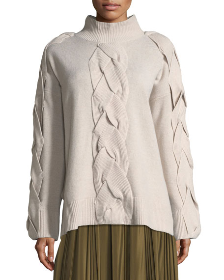 Cable-Front Merino Sweater