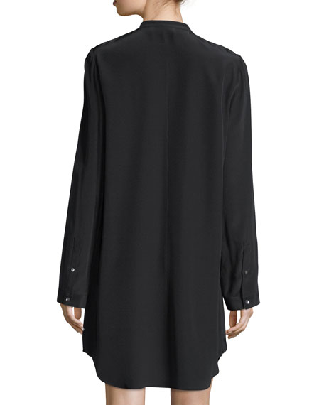 Keyhole Long-Sleeve Silk Drape Dress