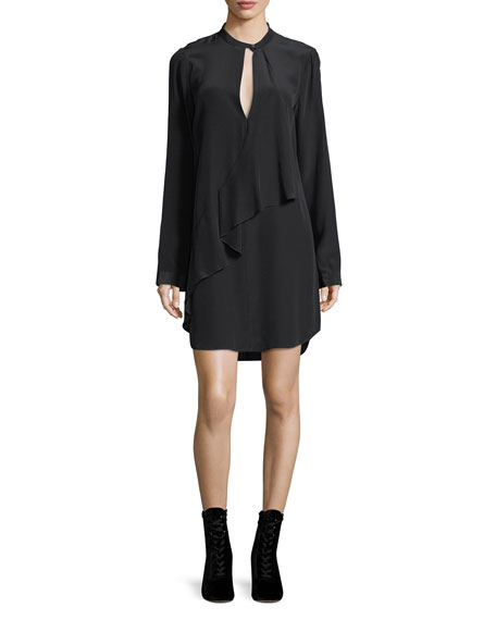 Keyhole Long-Sleeve Silk Drape Dress