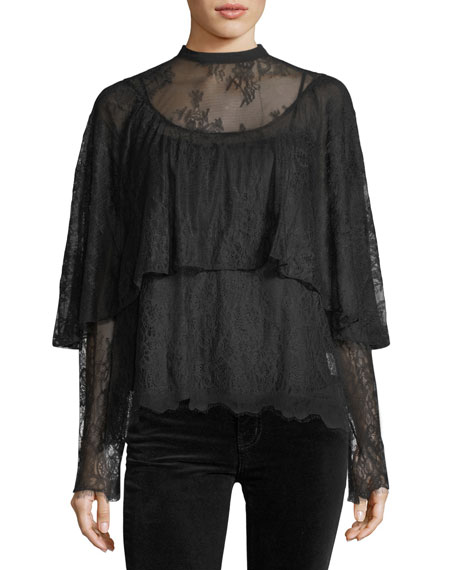 Robert Rodriguez Long-Sleeve Tiered Lace Top