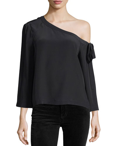 Off-the-Shoulder Long-Sleeve Silk Blouse
