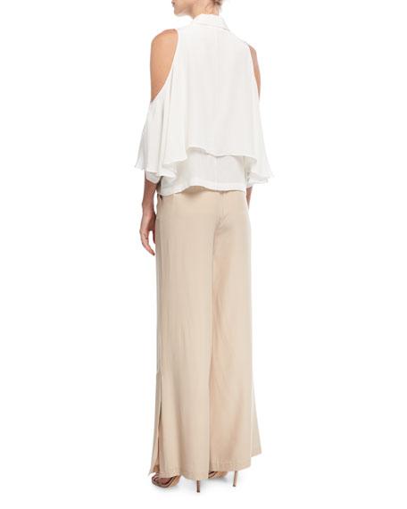 Off-Shoulder Silk Crop Top
