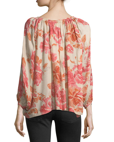 The Dreamer Floral-Print Silk Top
