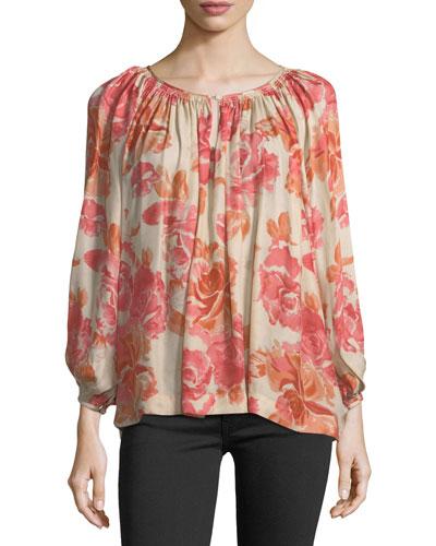 The Dreamer Floral-Print Silk Top