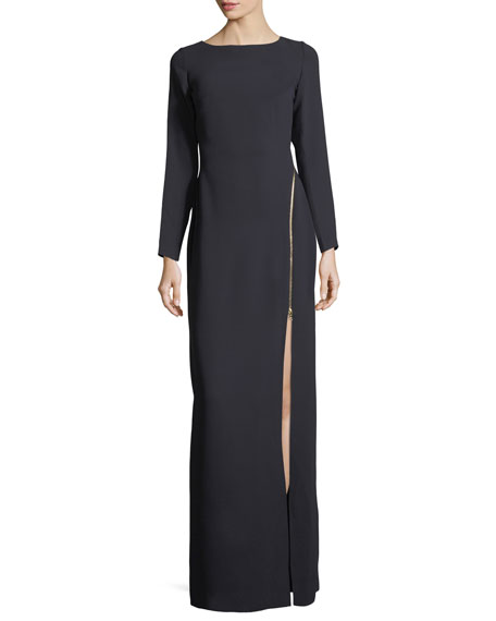 Victoire Asymmetric-Zip Long-Sleeve Column Evening Gown