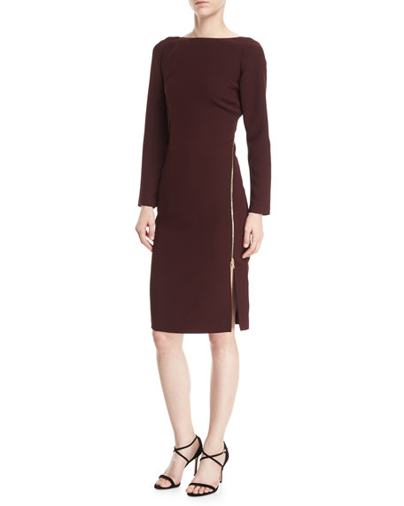 Victoire Bateau-Neck Asymmetric-Zip Cocktail Dress