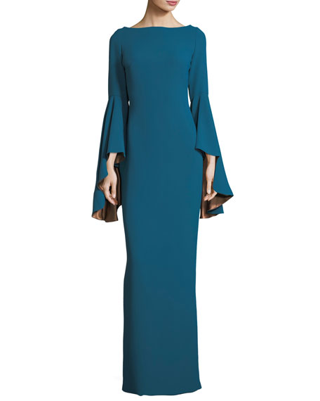 Angele Boat-Neck Bell-Sleeves Column Evening Gown