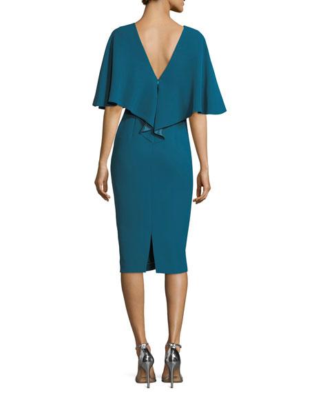 High-Neck Overlay Sheath Cocktail Dress