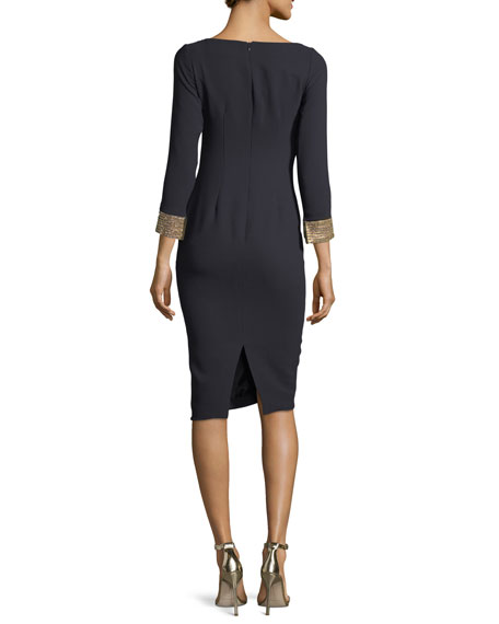 Long-Sleeve Bateau-Neck Jeweled-Cuffs Sheath Dress