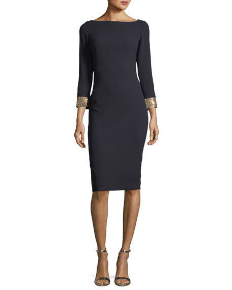 Marlene Olivier Long-Sleeve Bateau-Neck Jeweled-Cuffs Sheath Dress