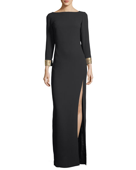 Ines Boat-Neck Jeweled-Cuff Column Evening Gown
