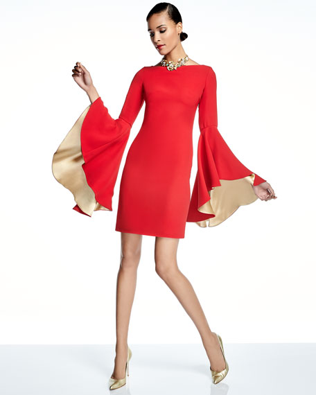 Boat-Neck Bell-Sleeve Cocktail Dress
