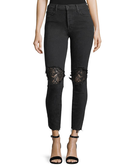 Super Stunner Ankle Fray Skinny Jeans w/ Lace Rip Knees