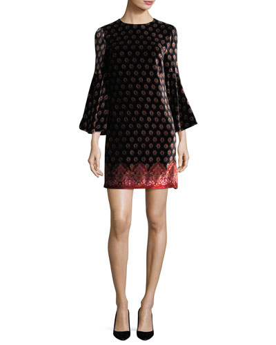 Printed Velvet Bell-Sleeve Dress