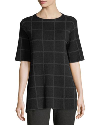 Short-Sleeve Fine Windowpane Crepe Tunic