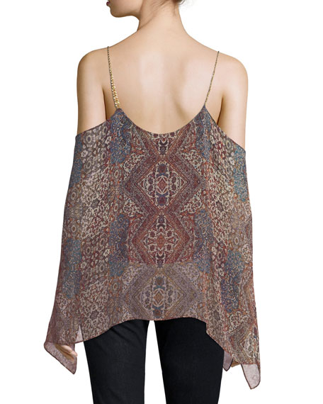 Casablanca Tapestry Cold-Shoulder Silk Top