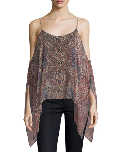 Casablanca Tapestry Cold-Shoulder Silk Top