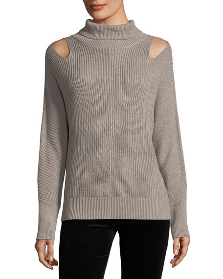 Riley Ribbed Turtleneck Cashmere-Blend Top
