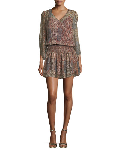 Tapestry-Printed V-Neck Silk Mini Dress