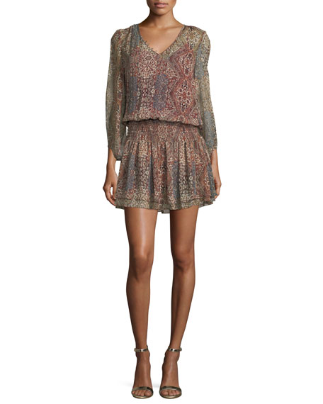 Ella Moss Tapestry-Printed V-Neck Silk Mini Dress