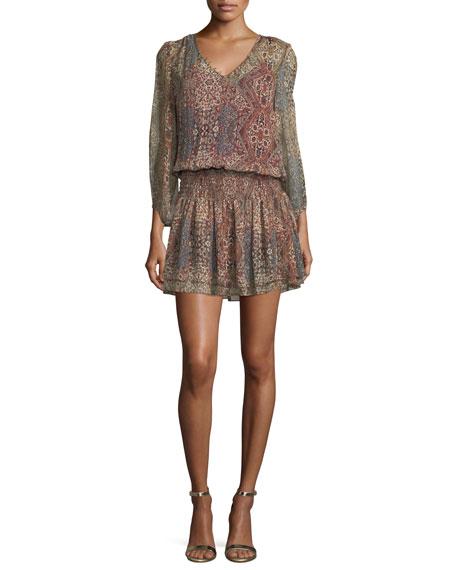 Tapestry-Printed V-Neck Silk Mini Dress