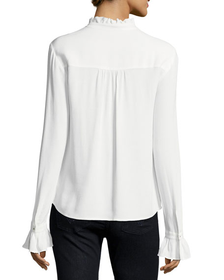 Eliza Mock-Neck Long-Sleeve Blouse w/ Ruffled Trim