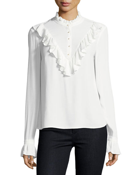 Ella Moss Eliza Mock-Neck Long-Sleeve Blouse w/ Ruffled