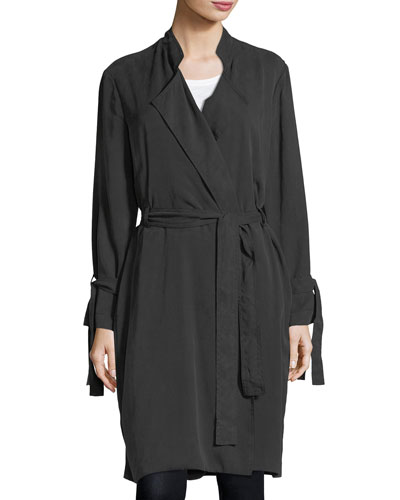 Sand-Washed Twill Wrap-Front Trenchcoat