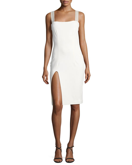 Cindy Lace-Straps Slit Hem Cocktail Dress