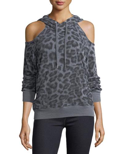 Leopard-Print Hooded Cold-Shoulder Sweatshirt