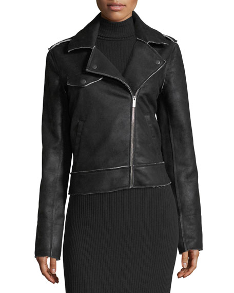 Bonded French Terry Zip-Front Biker Jacket