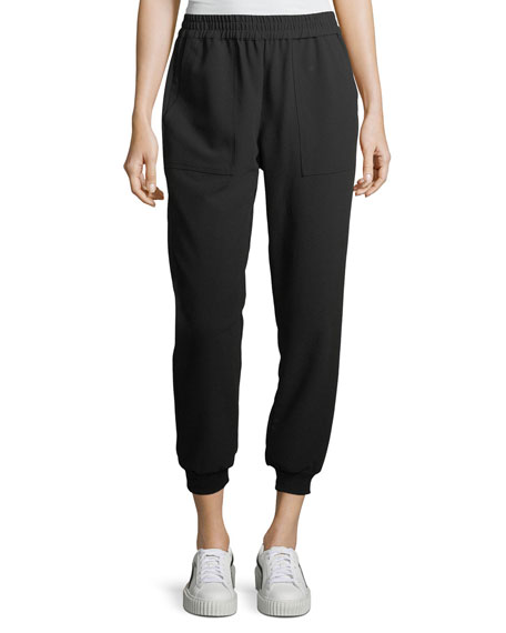Cropped Crepe Track Pants