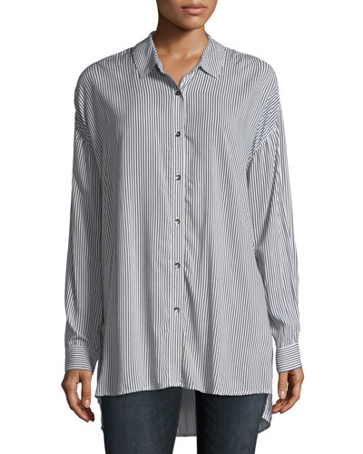 Button-Front Striped Oxford Tunic Shirt