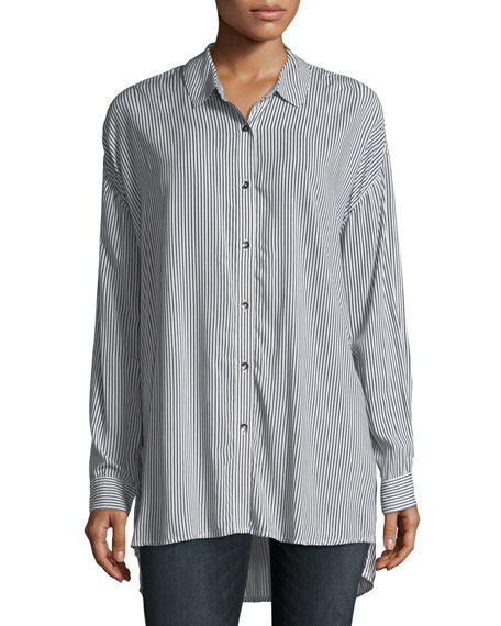 Splendid Button-Front Striped Oxford Tunic Shirt