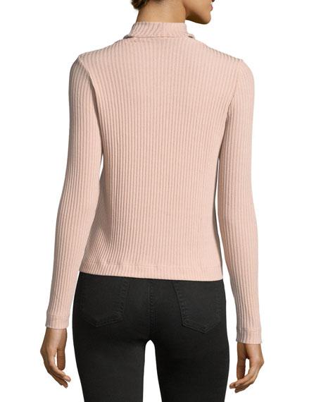 Sylvie Mock-Neck Melange Rib-Knit Top