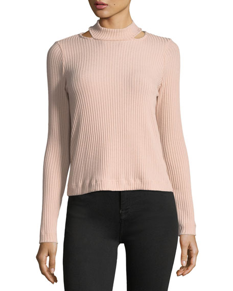 Sylvie Mock-Neck Melange Rib-Knit Top
