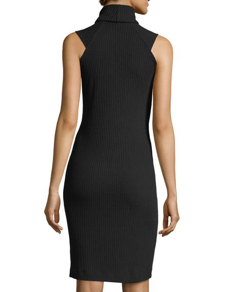 Sylvie Rib-Knit Fitted Mock-Neck Dress