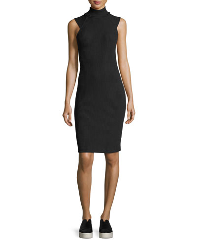 Sylvie Rib-Knit Fitted Mock-Neck Dress