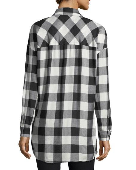Buffalo-Check Button-Down Boyfriend Shirt
