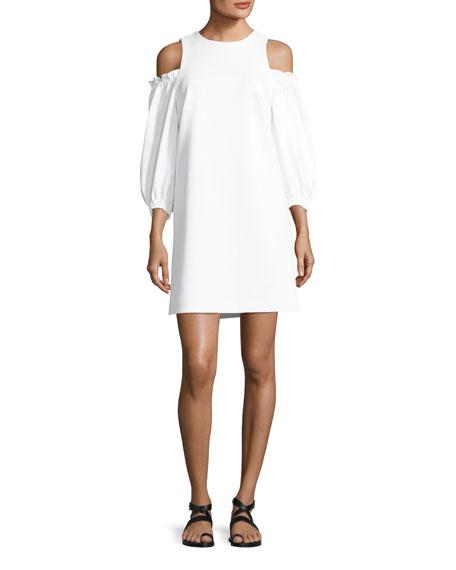Cold-Shoulder Stretch-Crepe A-Line Day Dress