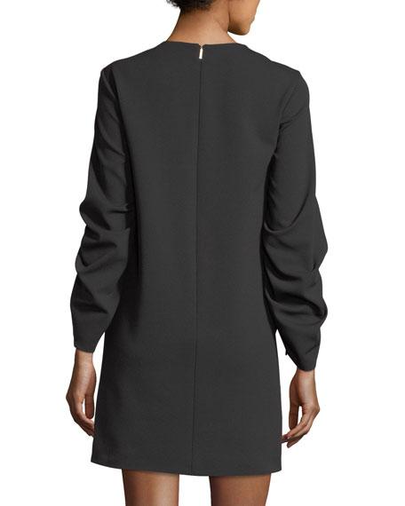 Drawstring-Sleeves Stretch-Crepe Shift Dress