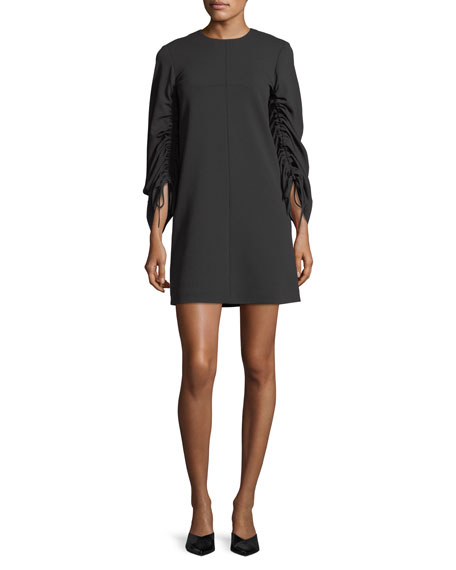Drawstring-Sleeves Stretch-Crepe Shift Dress