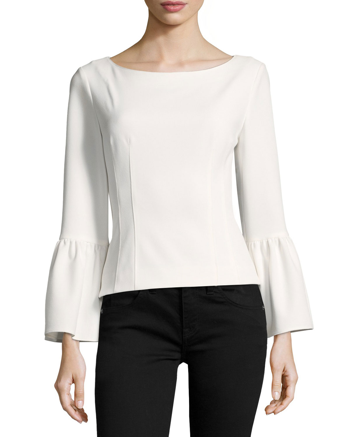 9e12ac2e665 Tibi Bell-Sleeve Corset Stretch-Crepe Top