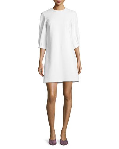 Crewneck Lace-Up Back A-Line Crepe Dress