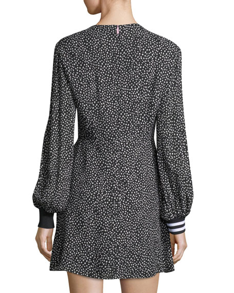 Martine Crewneck Printed A-Line Short Dress