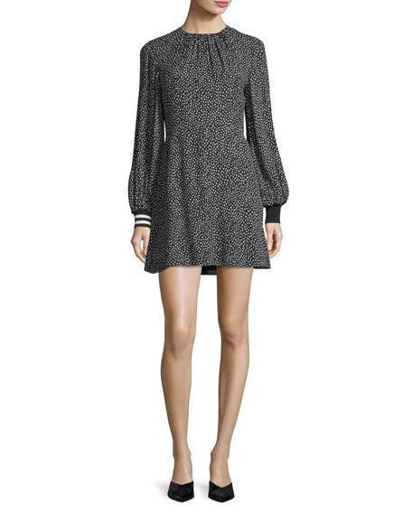 Tibi Martine Crewneck Printed A-Line Short Dress