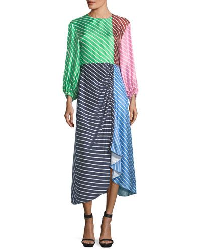 Delphina Colorblocked Striped Silk Satin Midi Dress