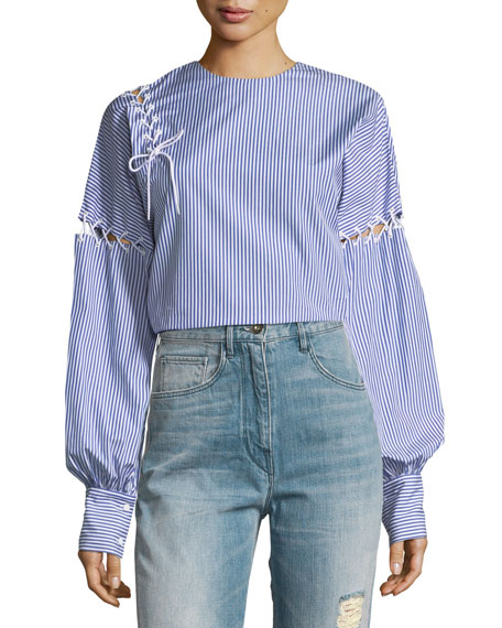 Tibi Crewneck Long-Sleeve Striped Cotton Top with Lacing