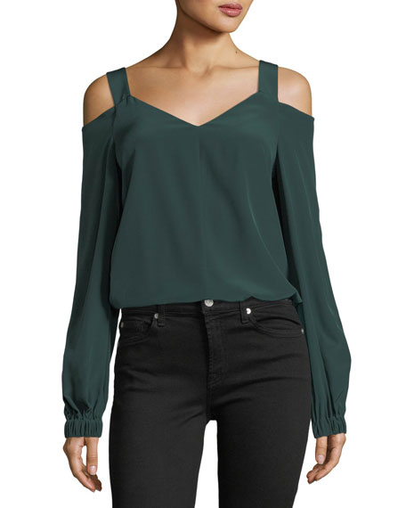 Tibi V-Neck Cold-Shoulder Silk Tunic